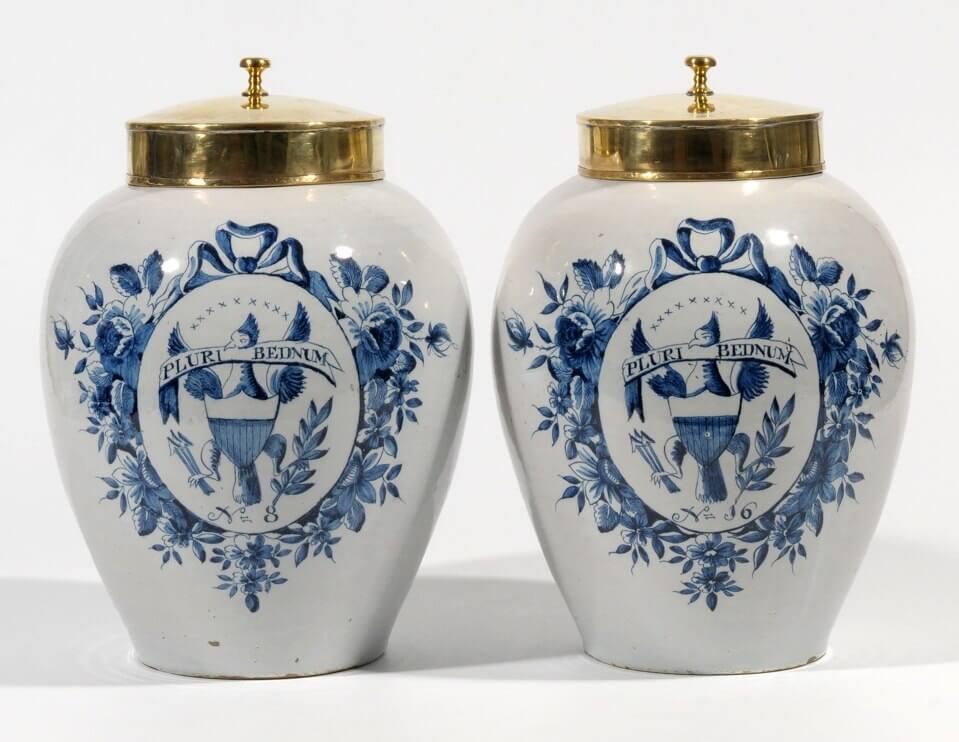 Aronson Antiquairs Americana Delft Jars Antique Delft Pottery