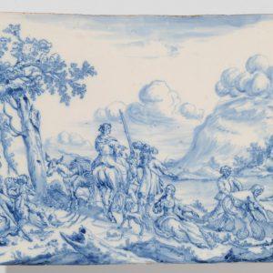 Antique Dutch Delftware Of Blue And White Plaque