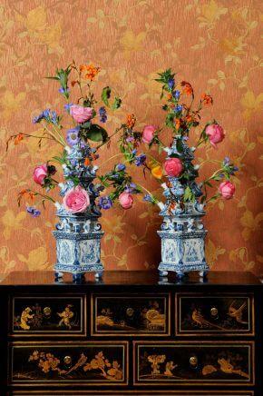 Display Of Antique Dutch Delftware Pottery In Ceramic Flower Vases