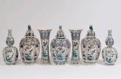 D0632. Garniture Of Seven Large 'Cashmire' Palette Vases