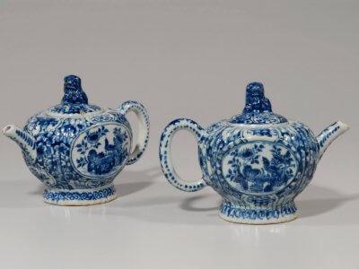 Antique Delft Pottery Pair Of Teapots