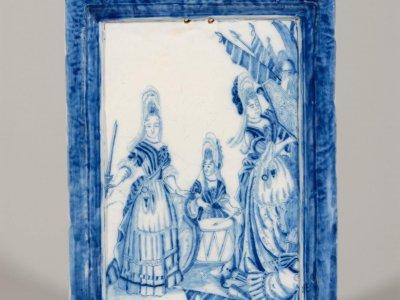 Antique Dutch Pottery Blue And White Plaque