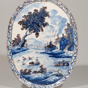 Delft Pottery Polychrome Oval Plaque