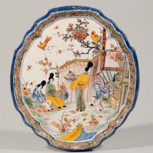 Antique Polychrome Plate Delft Pottery