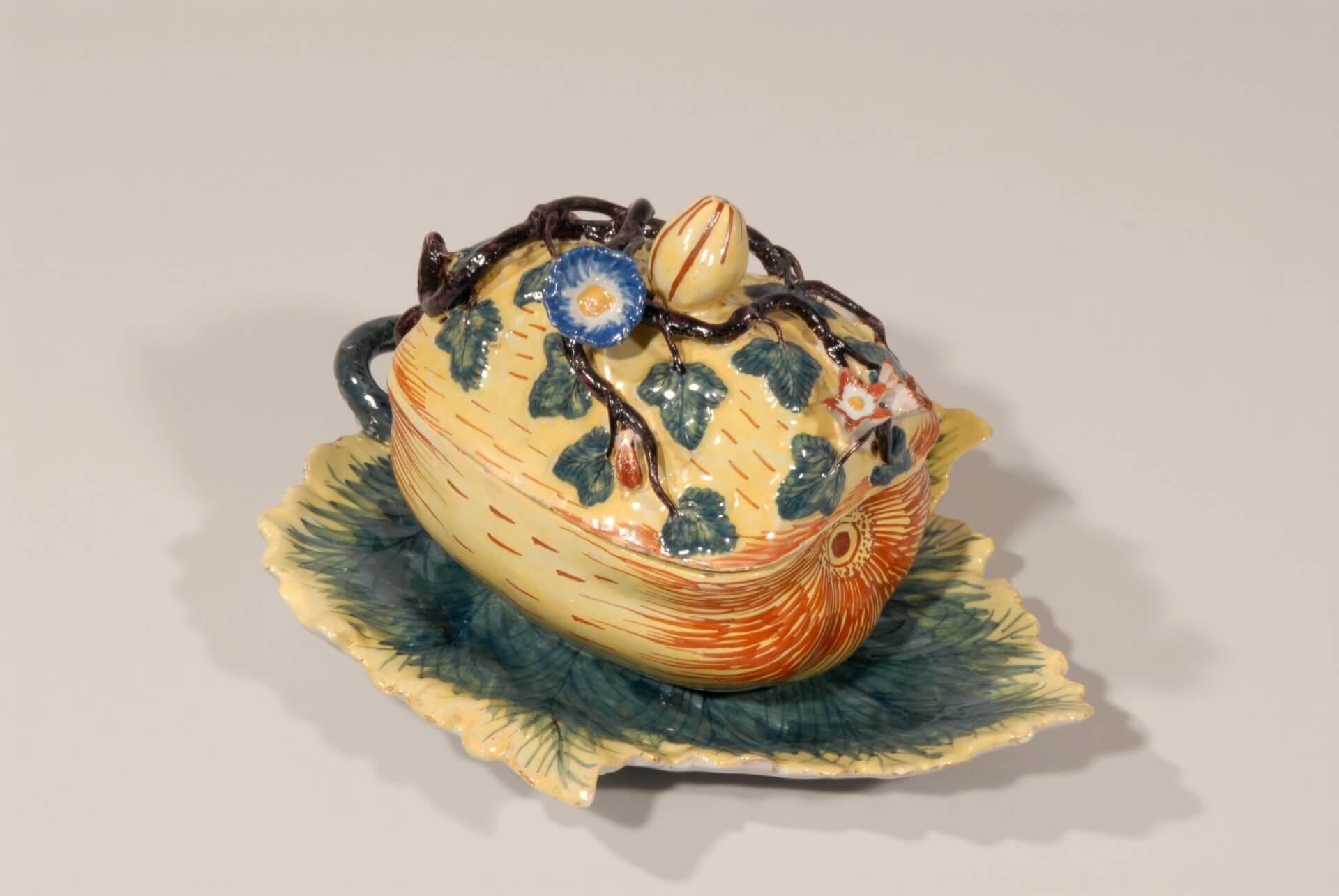 Antique Delft pottery tureen of pumpkin