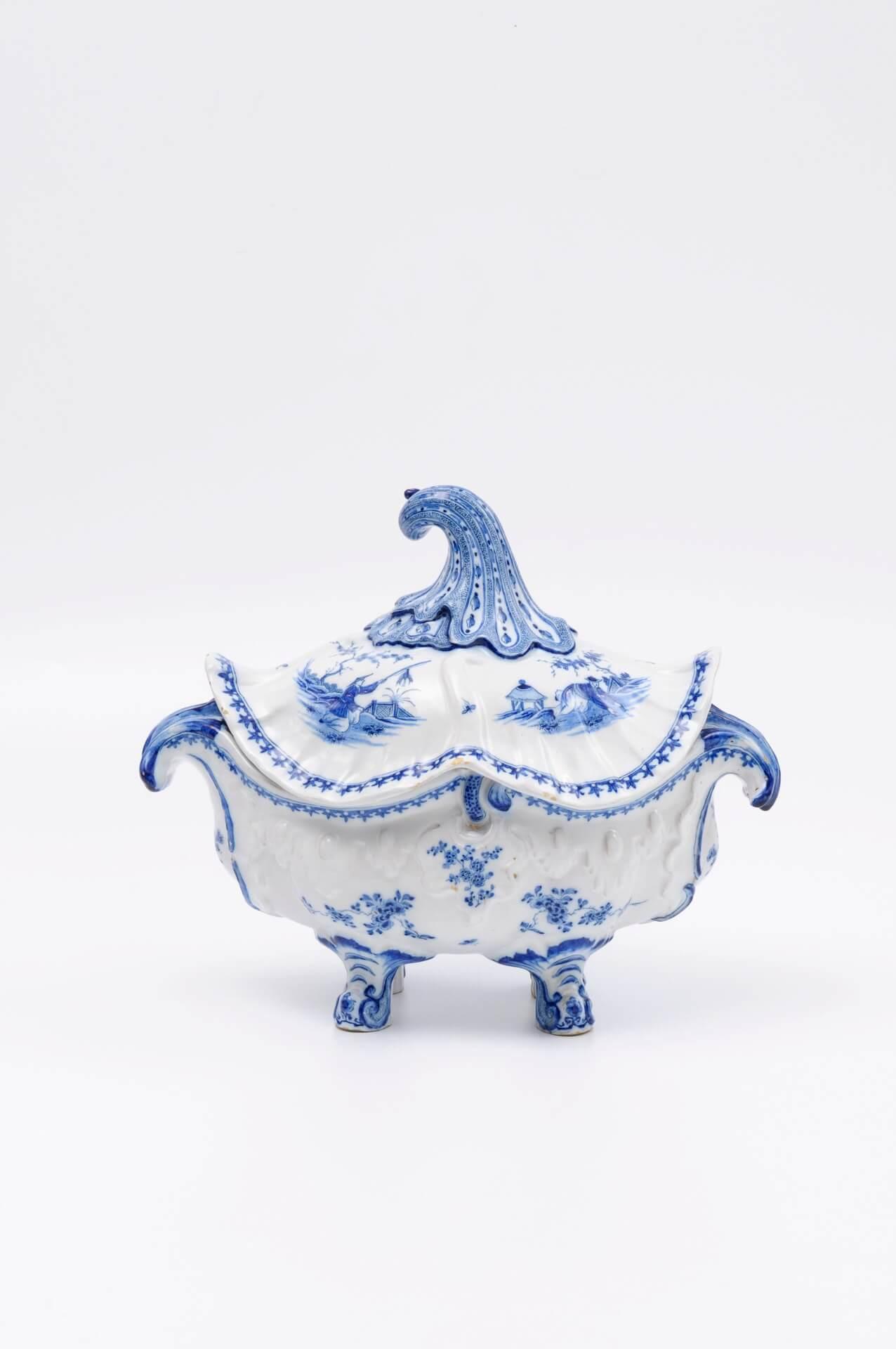 Antique blue and white Delft pottery rococo tureen