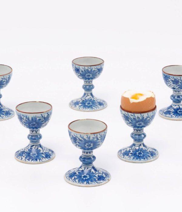 Antique Delft blue dragon pattern egg cups