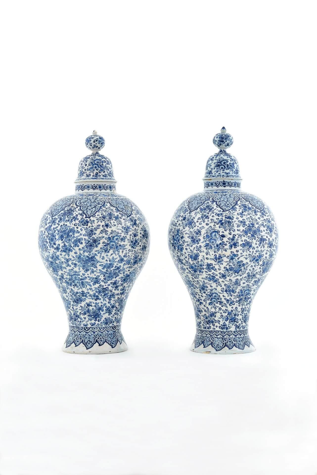 Antique delftware balluster form vases