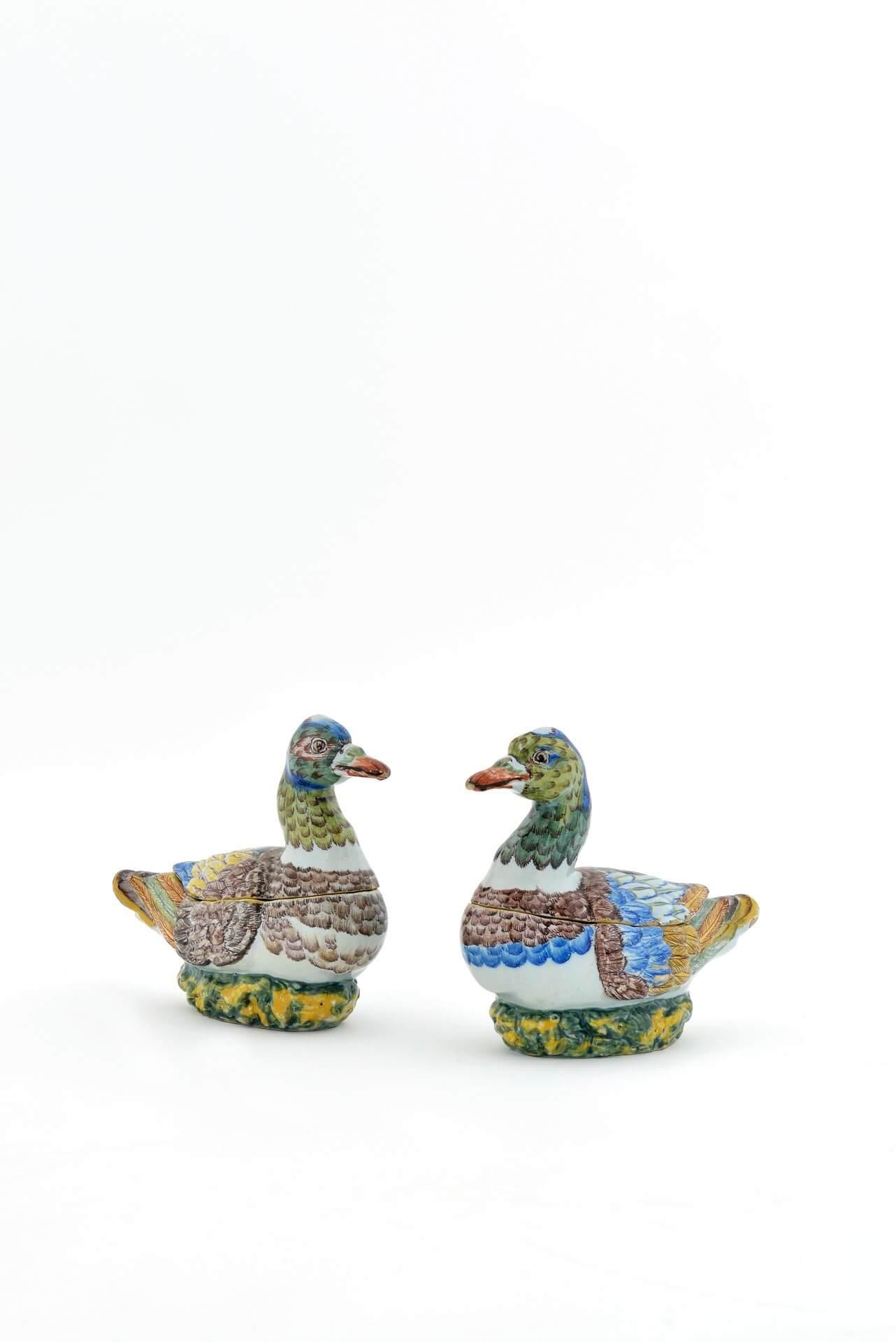 Delftware pottery of duck tureens