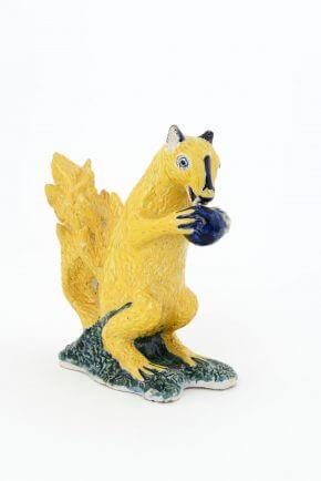 Antique Delft Pottery Polychrome Figurine Of A Squirrel
