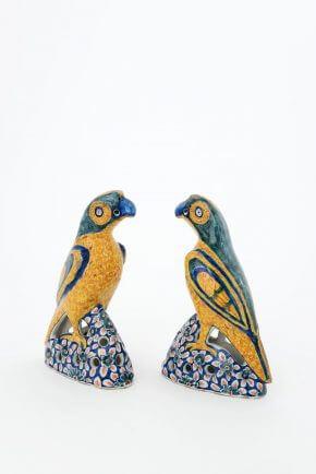 Antique Delftware Polychrome Pair Of Figures Parrots