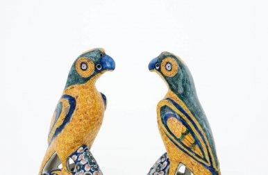 • D1334. Pair Of Polychrome Figures Of Parrots
