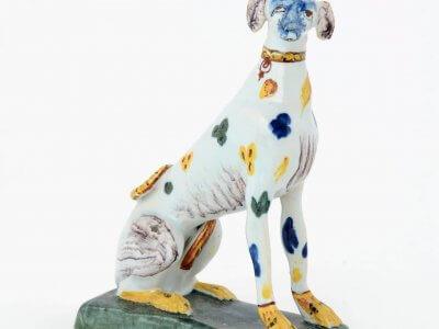 Antique Polychrome Ceramic Of Seated Greyhound