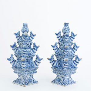 Delft Holland Ceramics A Pair Of Pyramid Flower Vases