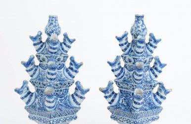 • D1321. Pair Of Blue And White Pyramidal Flower Vases