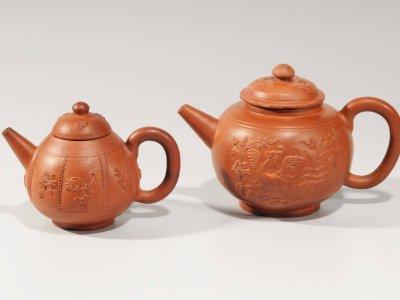 Antique Ceramic Red Stoneware Teapots