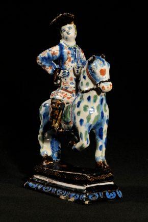 Black Delftware Pottery Of Equestrian