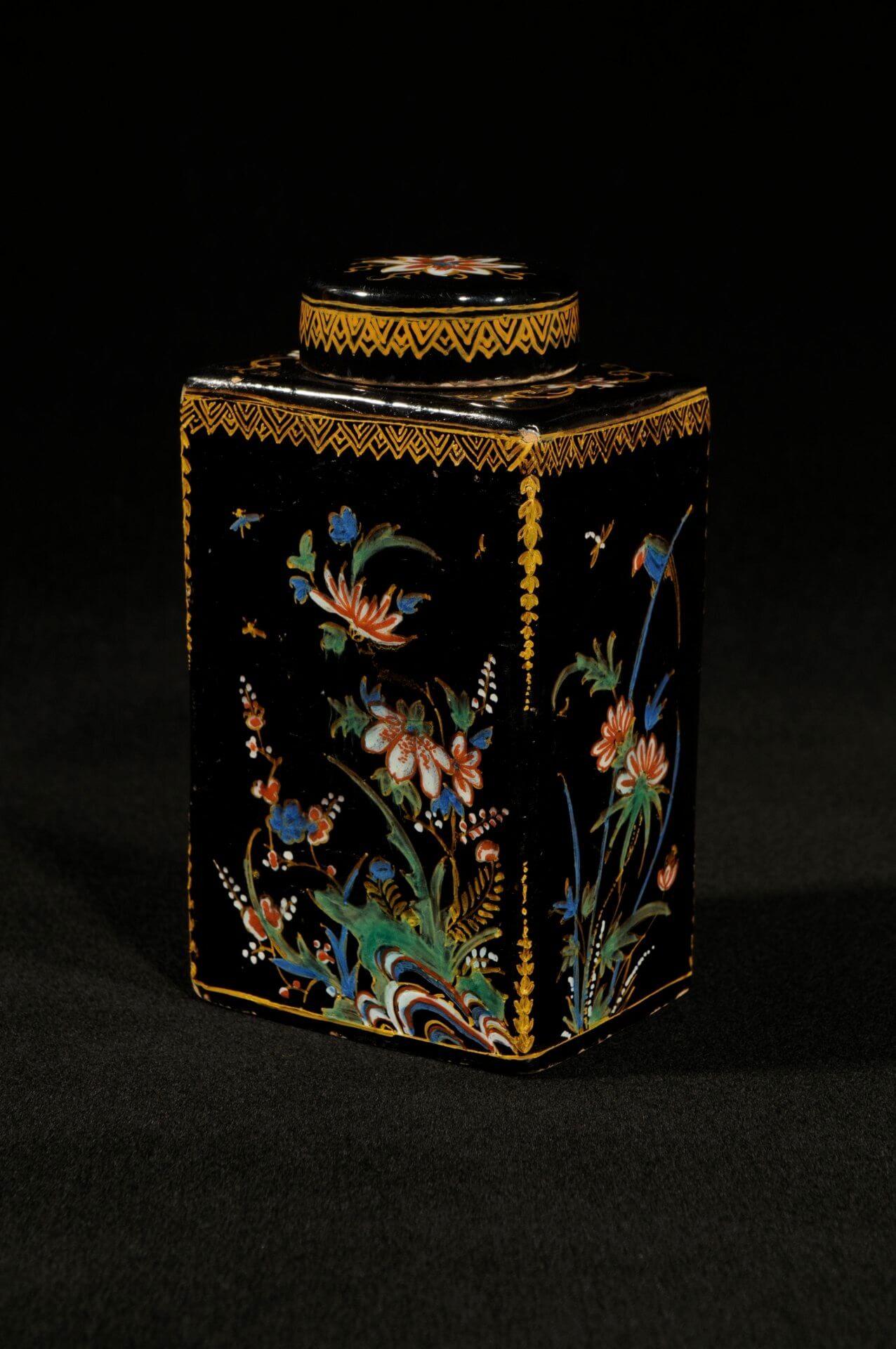 Black Dutch Delftware pottery of rectangular tea canister