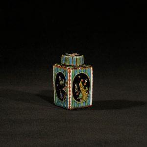 Antique Black Delftware Tea Canister