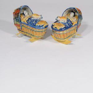 Delft Ceramic Polychromes Figures Of Baby In Cradle