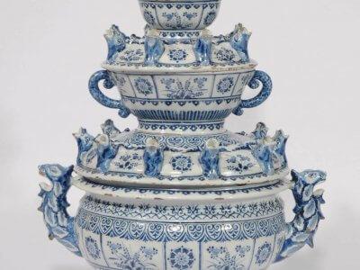 Antique Delft Earthenware Large Oval Flower Vase Delft Blue