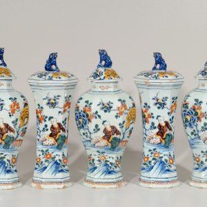 Garniture Of Polychrome Vases Antique Delft Pottery