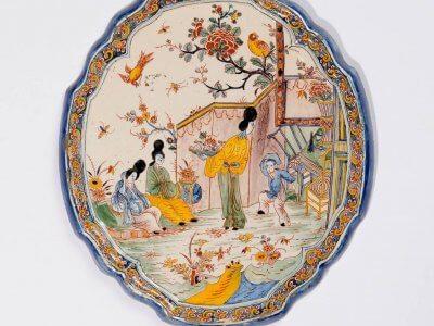 Antique Dutch Pottery Of Oriental Plaque