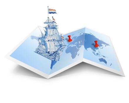 VOC ship on map