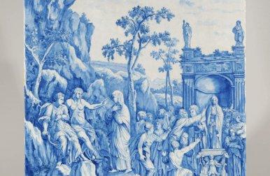 • D8205. Blue And White Massive Mythological Plaque
