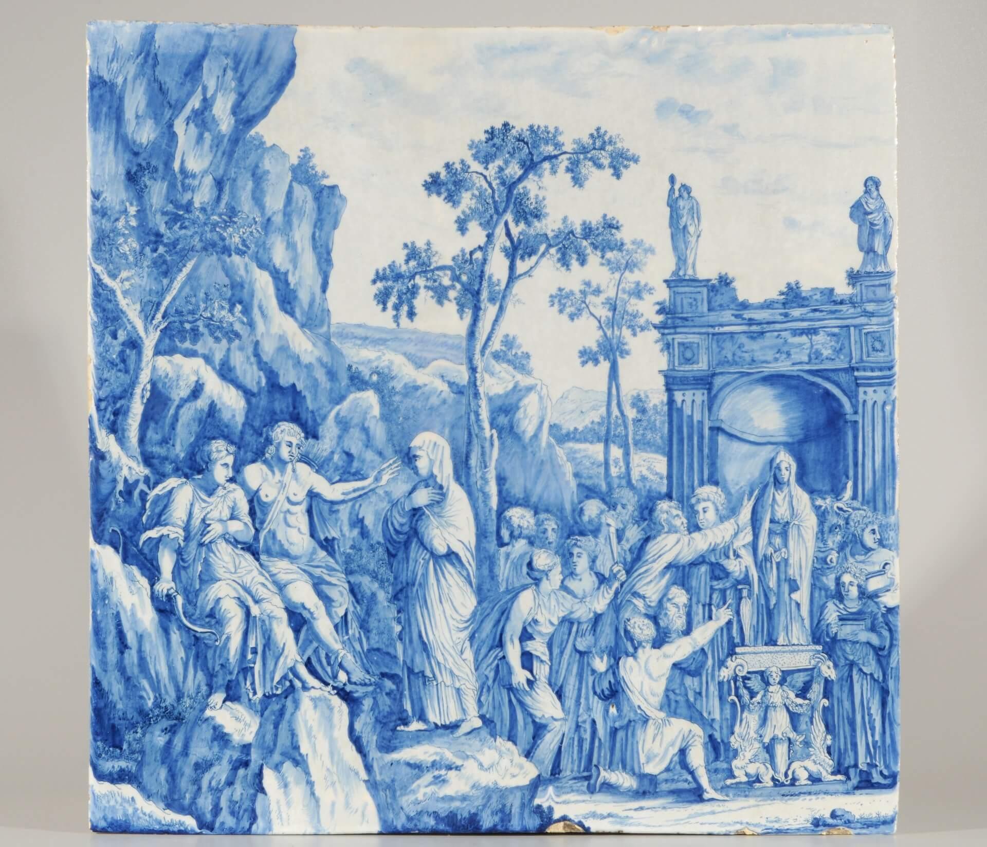 Aronson Antiquairs Delft blue pottery plaque of mythological story