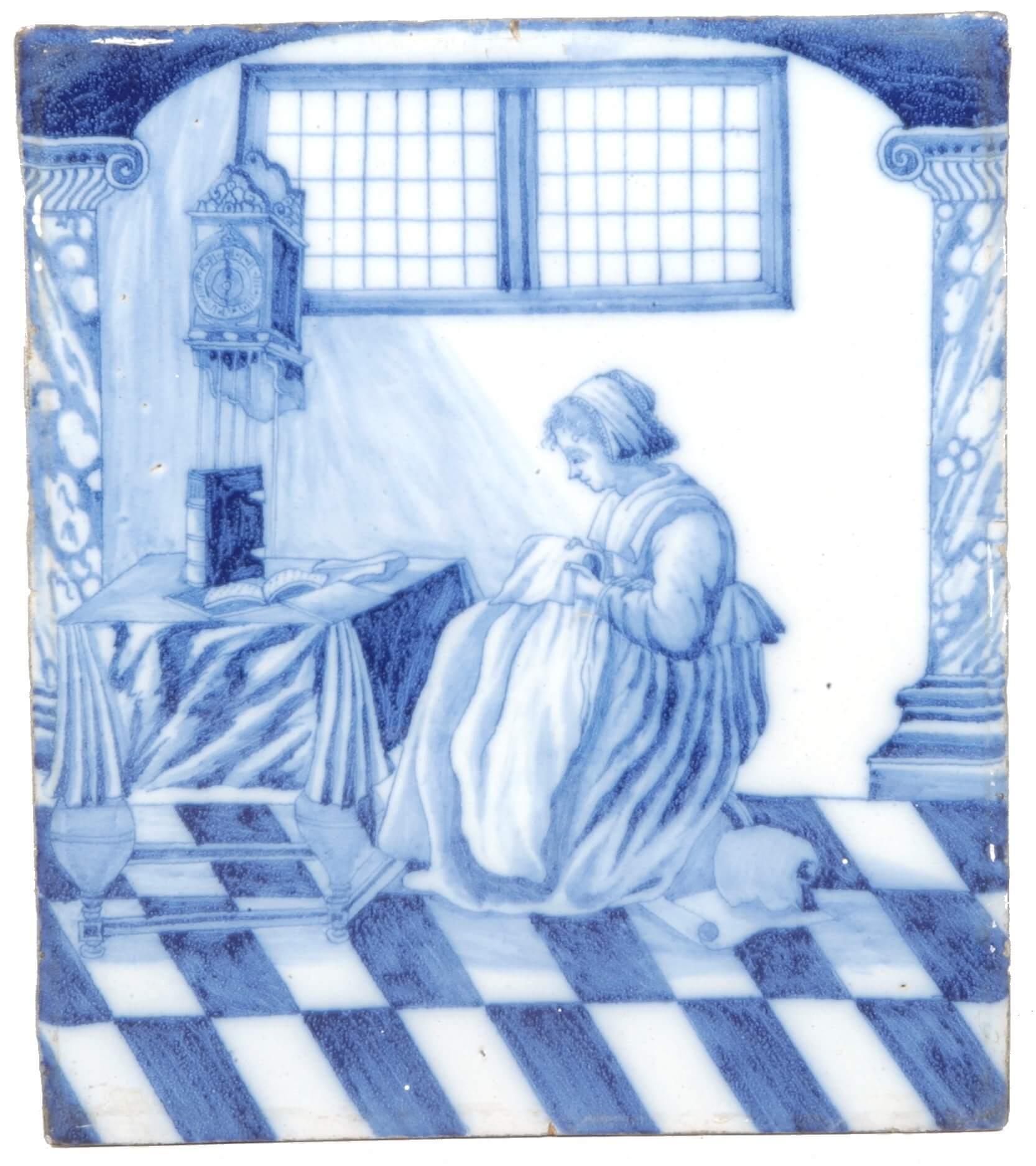 Antique Delft pottery blue and white plaque
