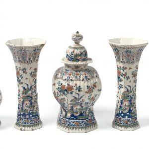 Antique Delft Pottery Of Cashmire Vases