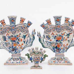 Antique Dutch Pottery Massive Cashmire Flower Vases