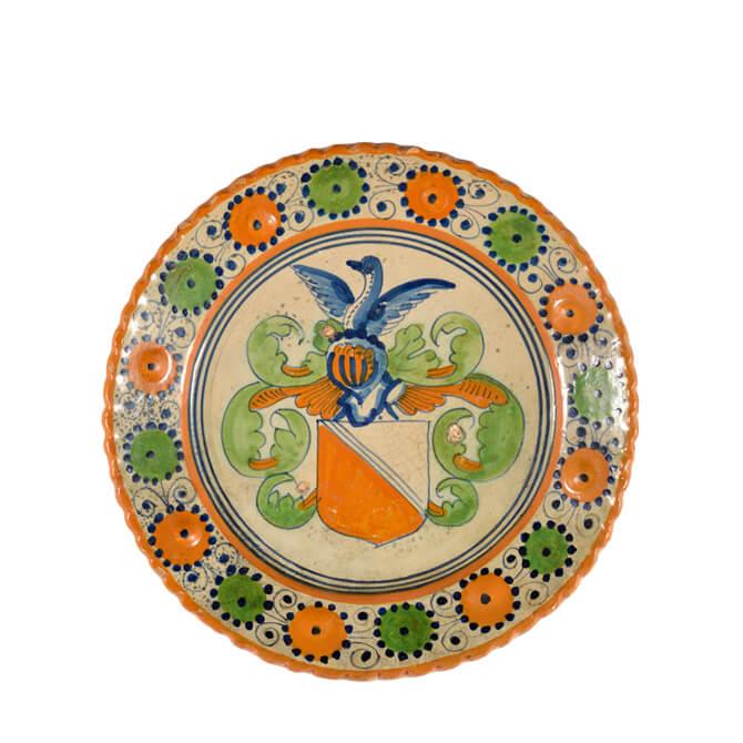 Antique Majolica Polychrome Armorial Plate about the origins of Dutch Delftware