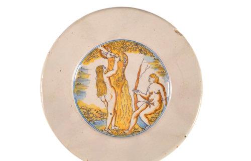 Antique Polychrome Biblical Plates