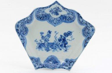 D1314. Blue And White Fan-Shaped Rijsttafel Dish