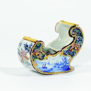 Antique Model Sleigh Representing Dutch Winters On Dutch Antique Delftware
