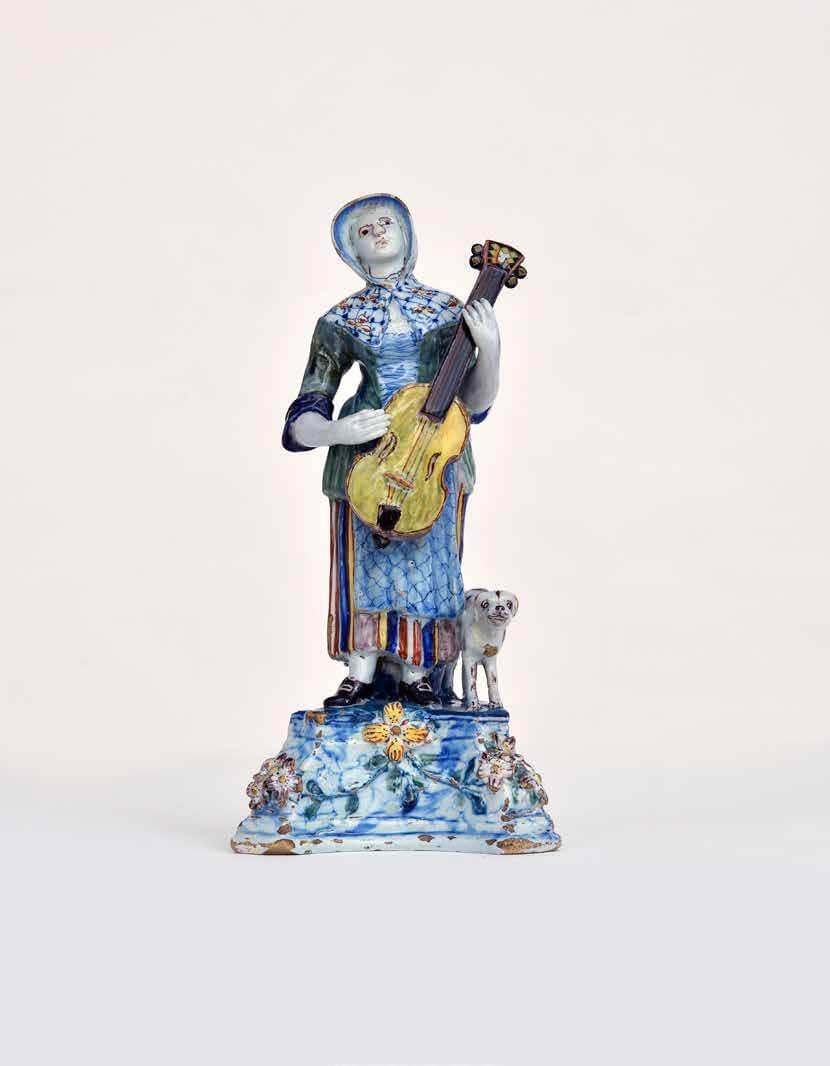 1563 Polychrome Figural Group of a Lady Playing a Viola da Gamba