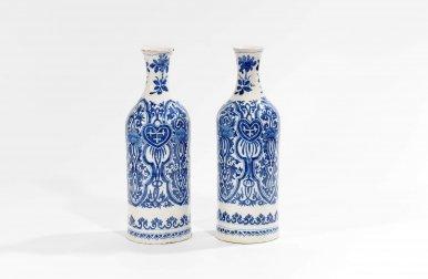 D1106. Pair Of Blue And White Bottle Vases