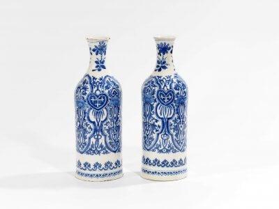 Dutch Delftware Bottle Shaped Vases