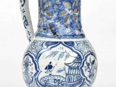 Antique Delftware Blue And White Puzzle Jug Aronson Antiquairs