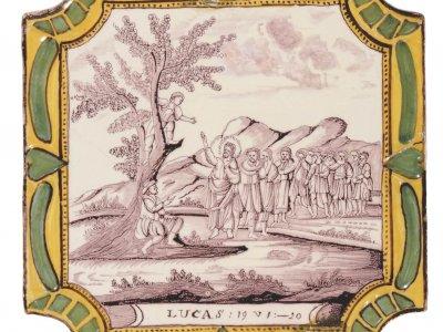 Dutch Delft Plaques With Biblical Depictions