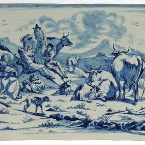 D8207. Blue And White Rectangular Plaque