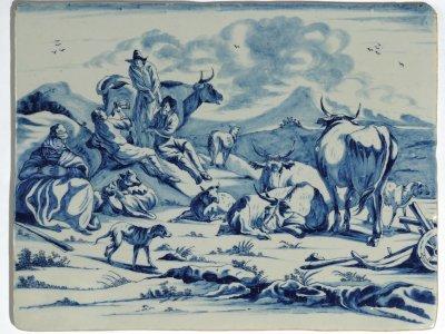 Delftware Blue And White Rectangular Plaque Aronson Antiquairs