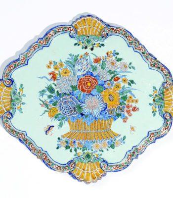 D8250. Polychrome Floral Plaque