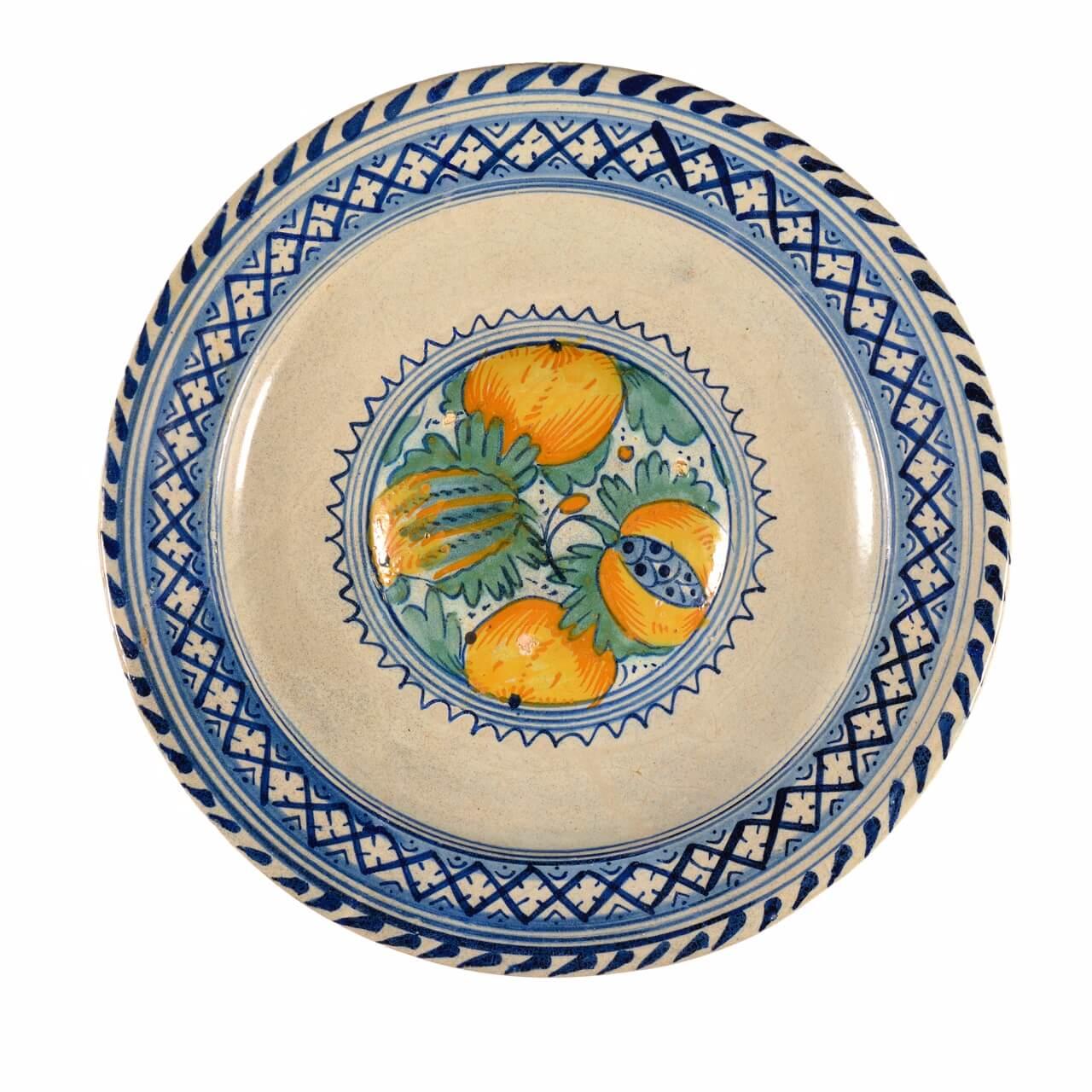 Antique majolica polychrome dish at Aronson Antiquairs