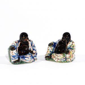 Two Black Delft Figures Of Budai Heshang Aronson Antiquairs