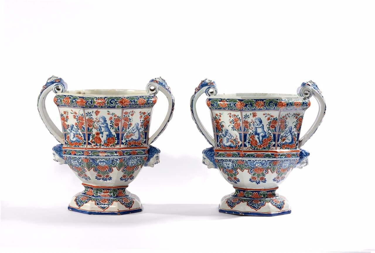 •D1616. Pair of 'Cashmire' Palette Large Octagonal Garden Urns