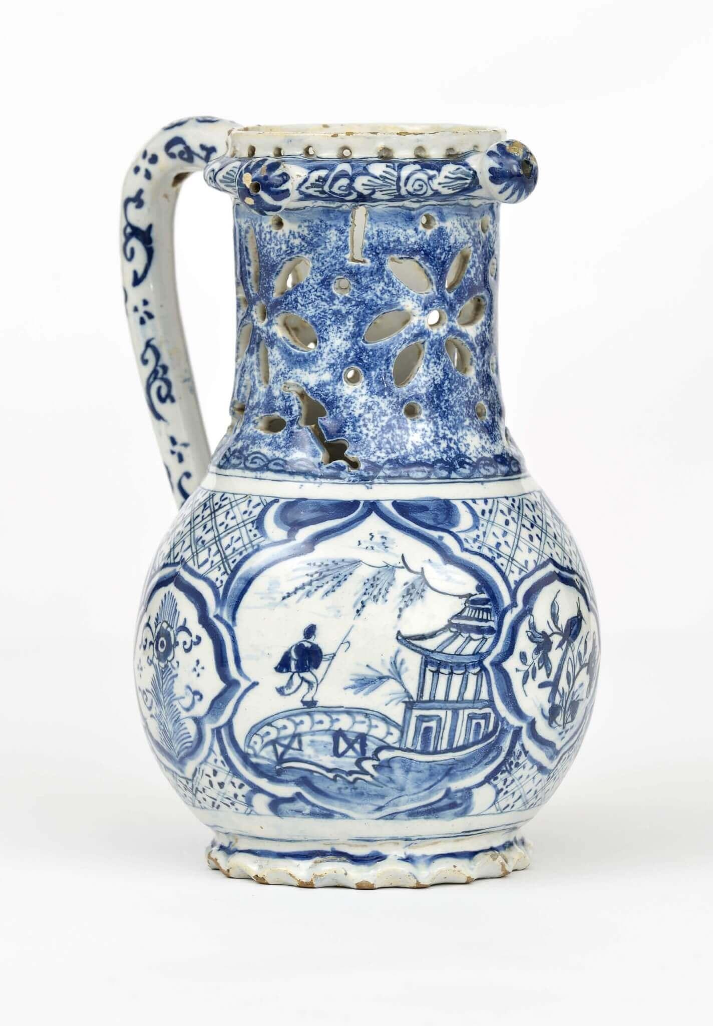 Blue and white Delftware puzzle jug