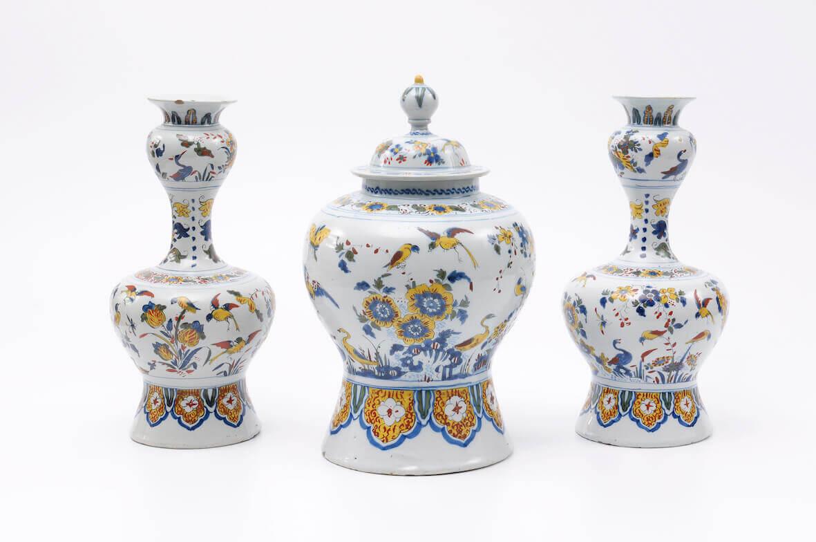 Garniture of polychrome vases